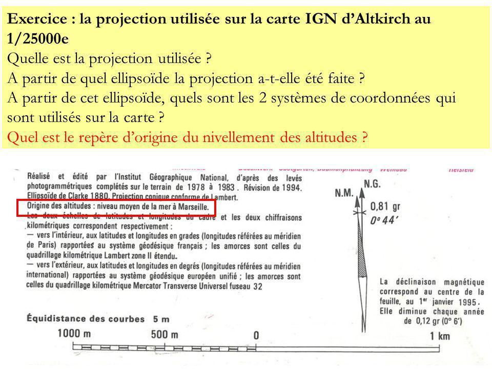 Exercice : la projection utilisée sur la carte IGN dAltkirch au 1/25000e Quelle est la projection utilisée ? A partir de quel ellipsoïde la projection