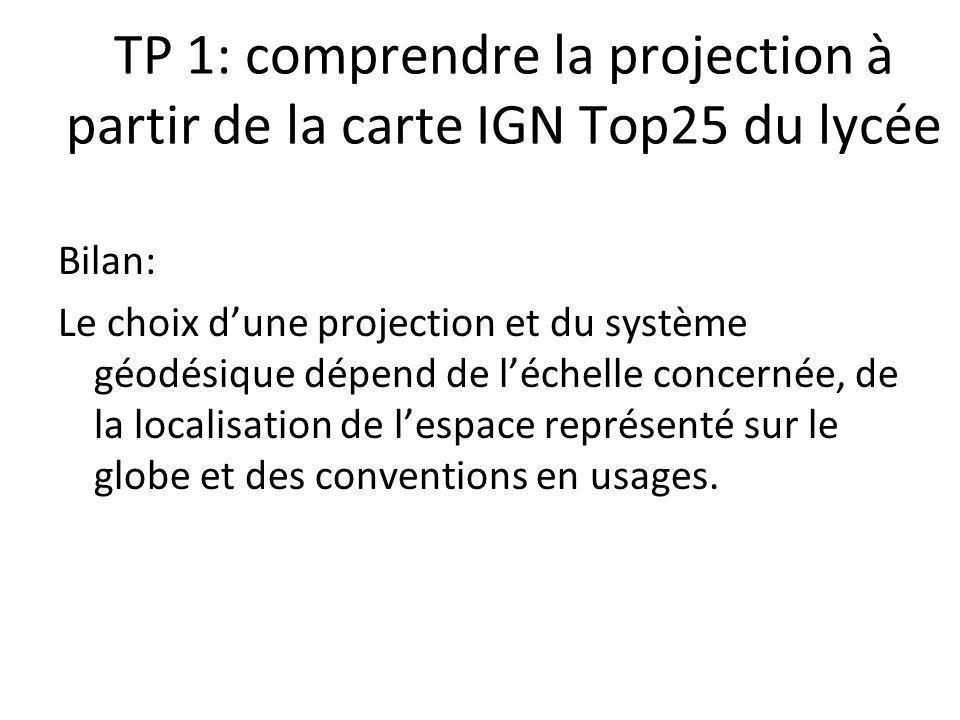 TP 1: comprendre la projection à partir de la carte IGN Top25 du lycée Bilan: Le choix dune projection et du système géodésique dépend de léchelle con