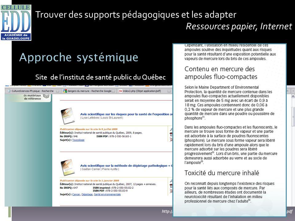 Trouver des supports pédagogiques et les adapter Ressources papier, Internet Approche systémique http://www.inspq.qc.ca/pdf/publications/946_AmpoulesF