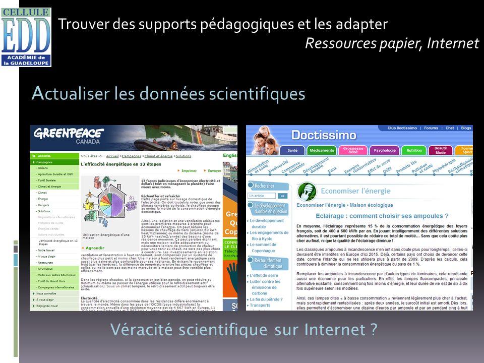 Trouver des supports pédagogiques et les adapter Ressources papier, Internet A ctualiser les données scientifiques Véracité scientifique sur Internet