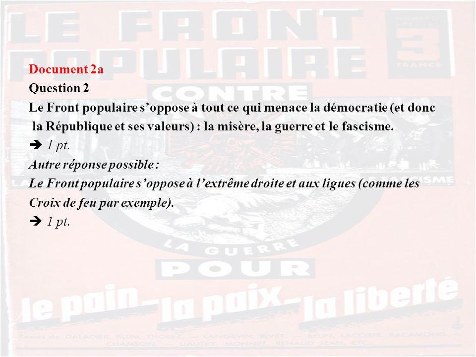 Document 2a Question 2 Le Front populaire soppose à tout ce qui menace la démocratie (et donc la République et ses valeurs) : la misère, la guerre et le fascisme.