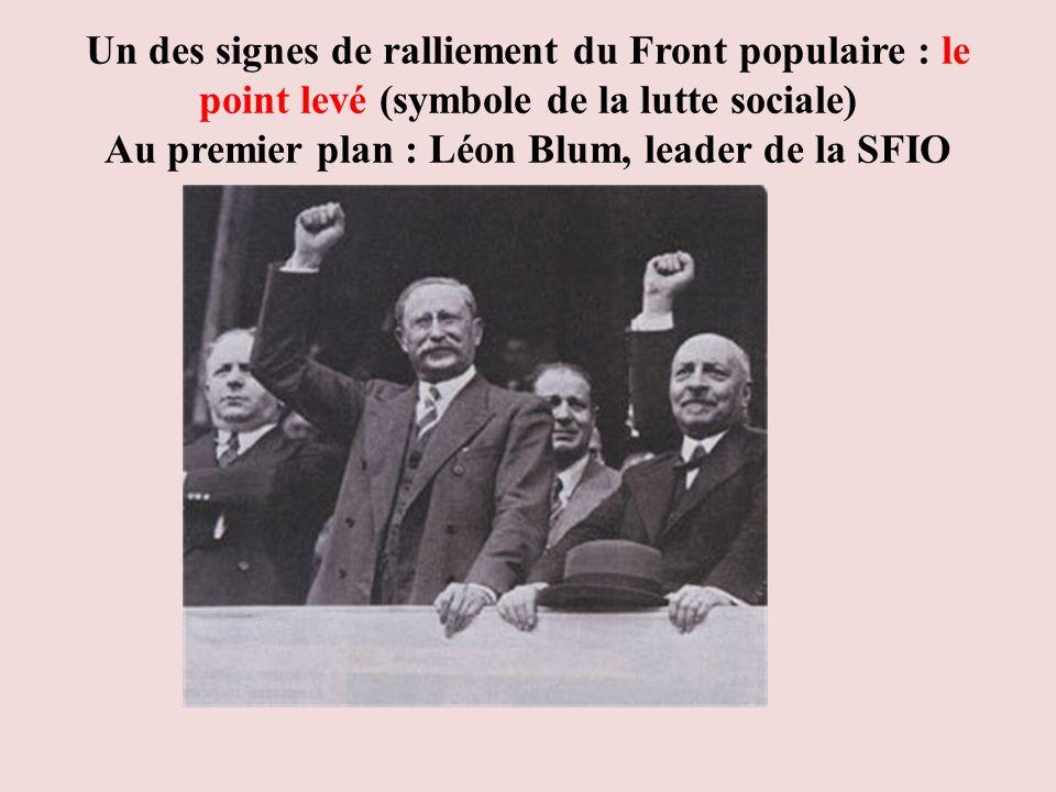 Un des signes de ralliement du Front populaire : le point levé (symbole de la lutte sociale) Au premier plan : Léon Blum, leader de la SFIO