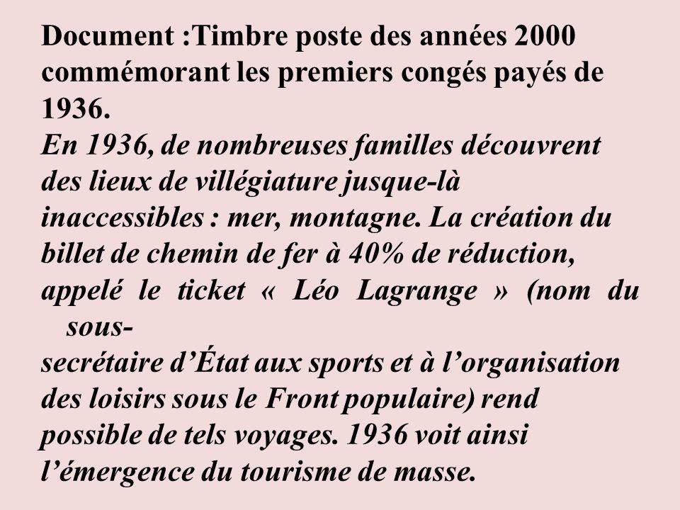 Document :Timbre poste des années 2000 commémorant les premiers congés payés de 1936. En 1936, de nombreuses familles découvrent des lieux de villégia