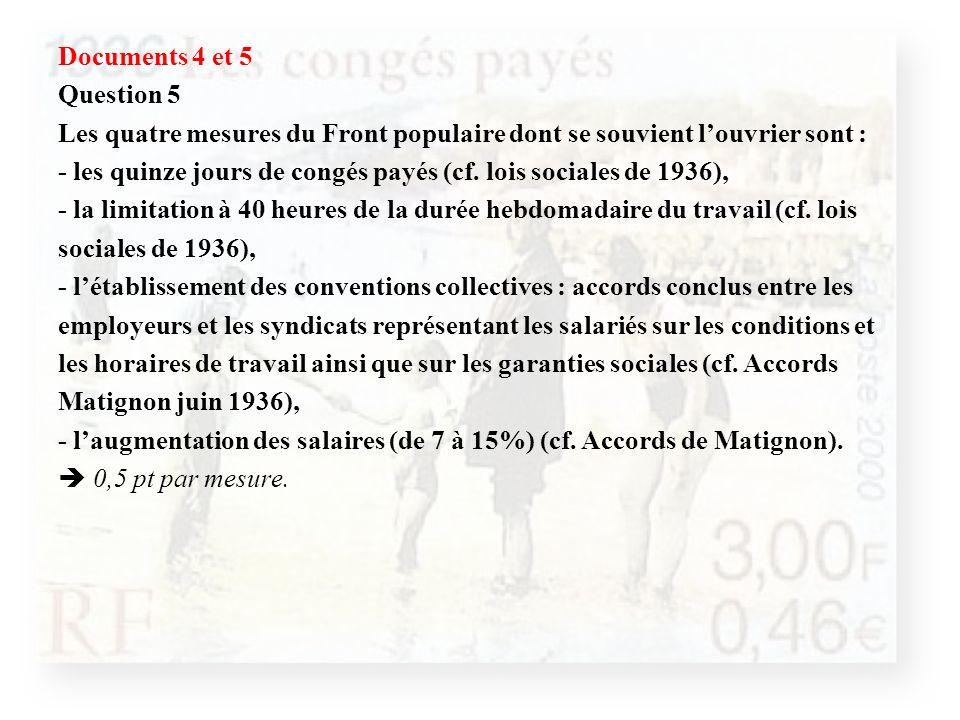 Documents 4 et 5 Question 5 Les quatre mesures du Front populaire dont se souvient louvrier sont : - les quinze jours de congés payés (cf. lois social