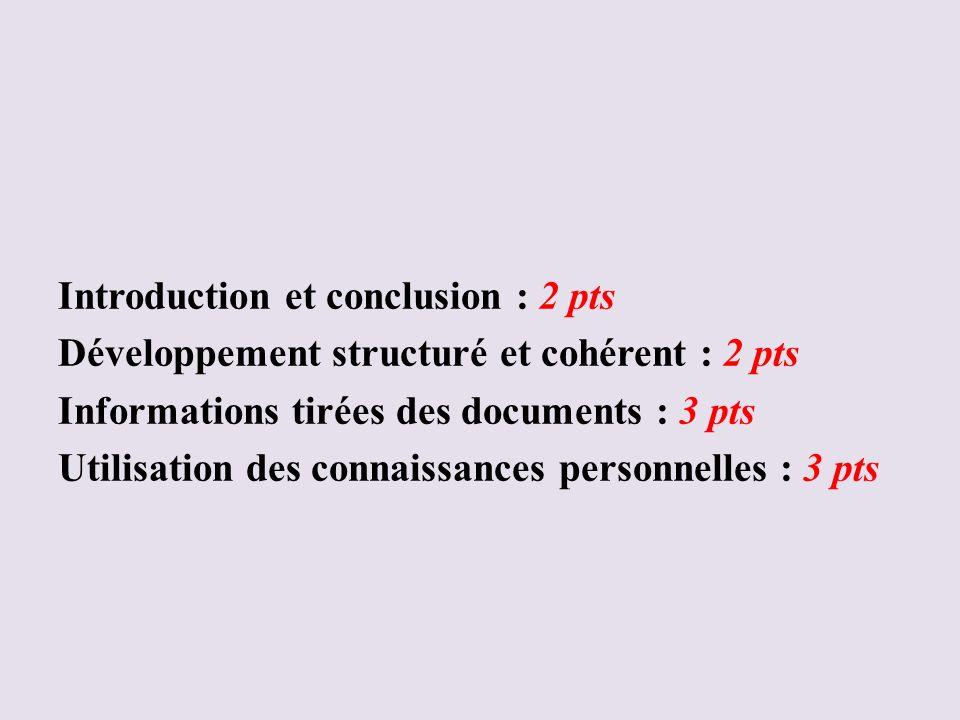 Barème du paragraphe argumenté Introduction et conclusion : 2 pts Développement structuré et cohérent : 2 pts Informations tirées des documents : 3 pt