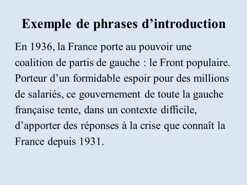 Exemple de phrases dintroduction En 1936, la France porte au pouvoir une coalition de partis de gauche : le Front populaire. Porteur dun formidable es