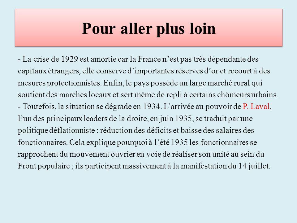 Pour aller plus loin - La crise de 1929 est amortie car la France nest pas très dépendante des capitaux étrangers, elle conserve dimportantes réserves dor et recourt à des mesures protectionnistes.