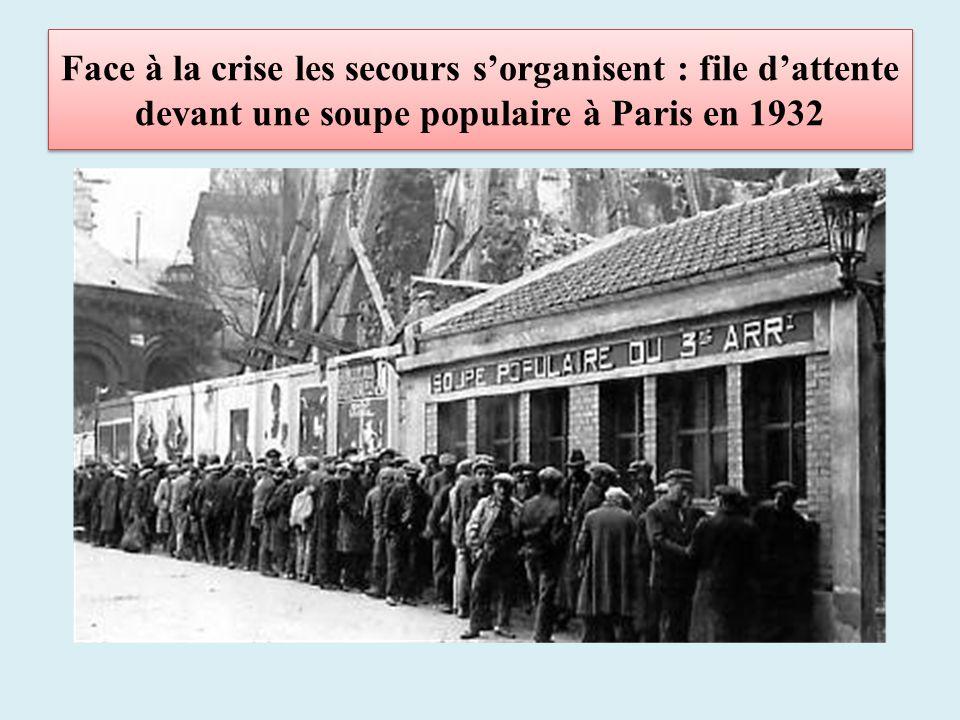Face à la crise les secours sorganisent : file dattente devant une soupe populaire à Paris en 1932