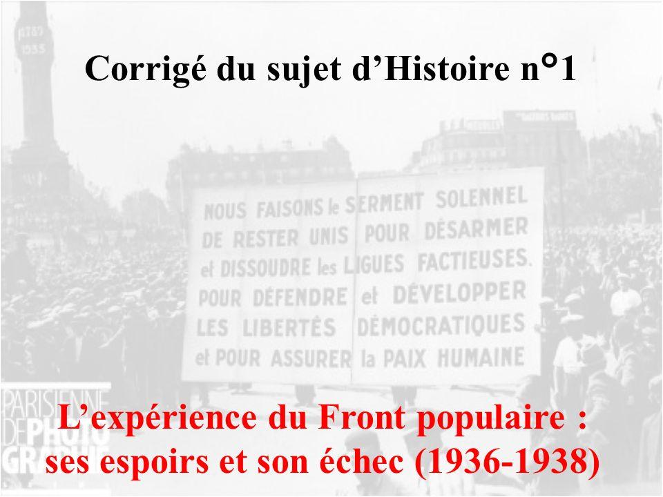 Corrigé du sujet dHistoire n°1 Lexpérience du Front populaire : ses espoirs et son échec (1936-1938)