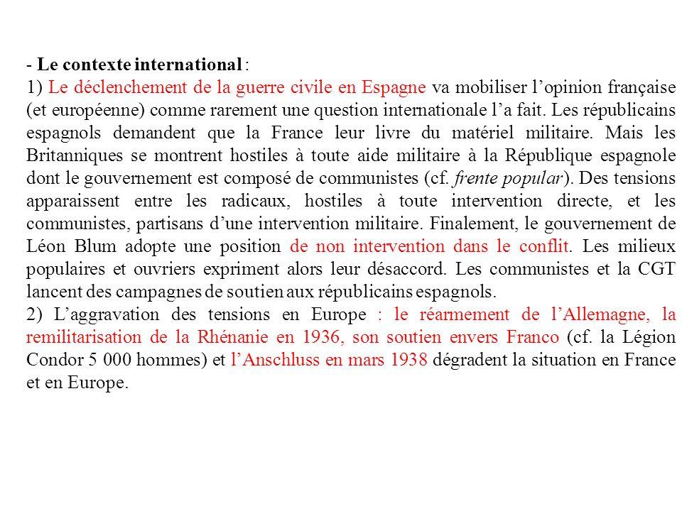 - Le contexte international : 1) Le déclenchement de la guerre civile en Espagne va mobiliser lopinion française (et européenne) comme rarement une question internationale la fait.