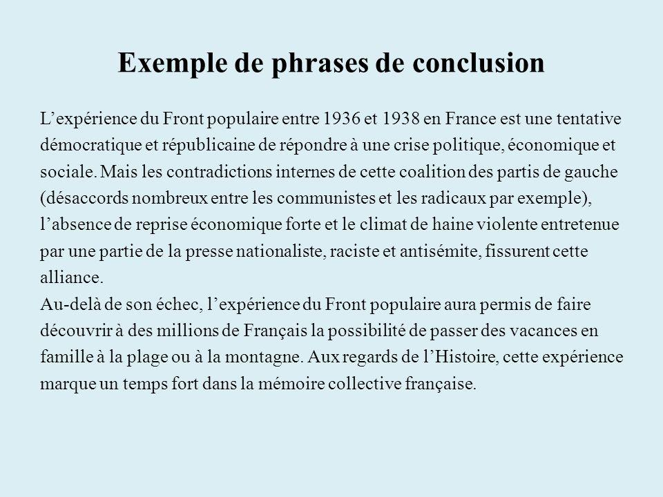 Exemple de phrases de conclusion Lexpérience du Front populaire entre 1936 et 1938 en France est une tentative démocratique et républicaine de répondre à une crise politique, économique et sociale.
