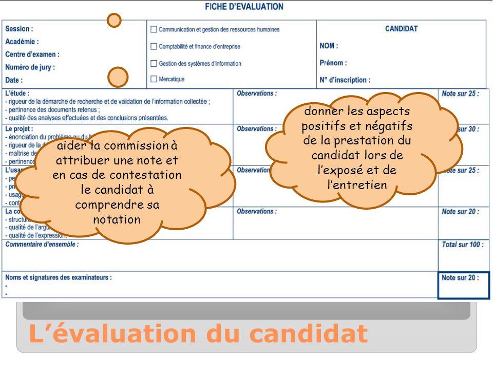 Lévaluation du candidat donner les aspects positifs et négatifs de la prestation du candidat lors de lexposé et de lentretien aider la commission à at