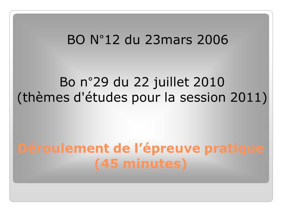 Déroulement de lépreuve pratique (45 minutes) BO N°12 du 23mars 2006 Bo n°29 du 22 juillet 2010 (thèmes d'études pour la session 2011)