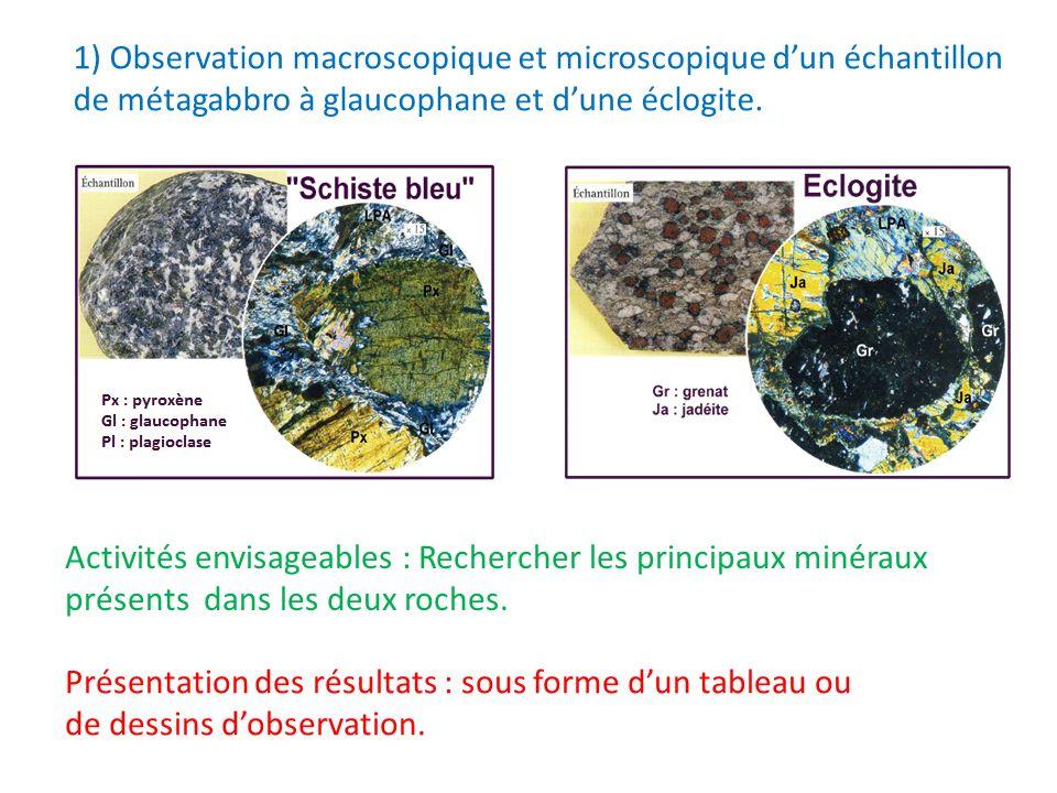 1) Observation macroscopique et microscopique dun échantillon de métagabbro à glaucophane et dune éclogite. Activités envisageables : Rechercher les p