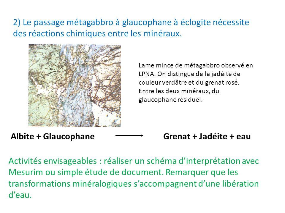 2) Le passage métagabbro à glaucophane à éclogite nécessite des réactions chimiques entre les minéraux. Albite + Glaucophane Grenat + Jadéite + eau La