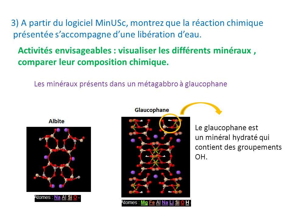 3) A partir du logiciel MinUSc, montrez que la réaction chimique présentée saccompagne dune libération deau. Activités envisageables : visualiser les
