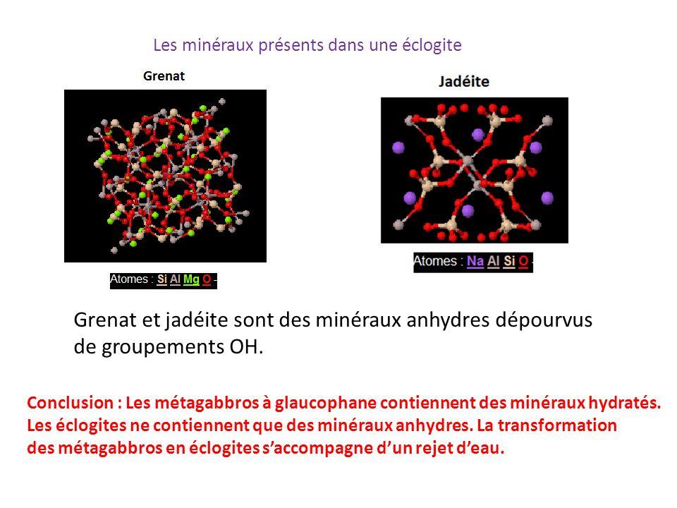 Grenat et jadéite sont des minéraux anhydres dépourvus de groupements OH. Conclusion : Les métagabbros à glaucophane contiennent des minéraux hydratés