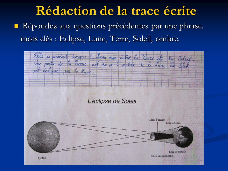 Rédaction de la trace écrite Répondez aux questions précédentes par une phrase. Répondez aux questions précédentes par une phrase. mots clés : Eclipse