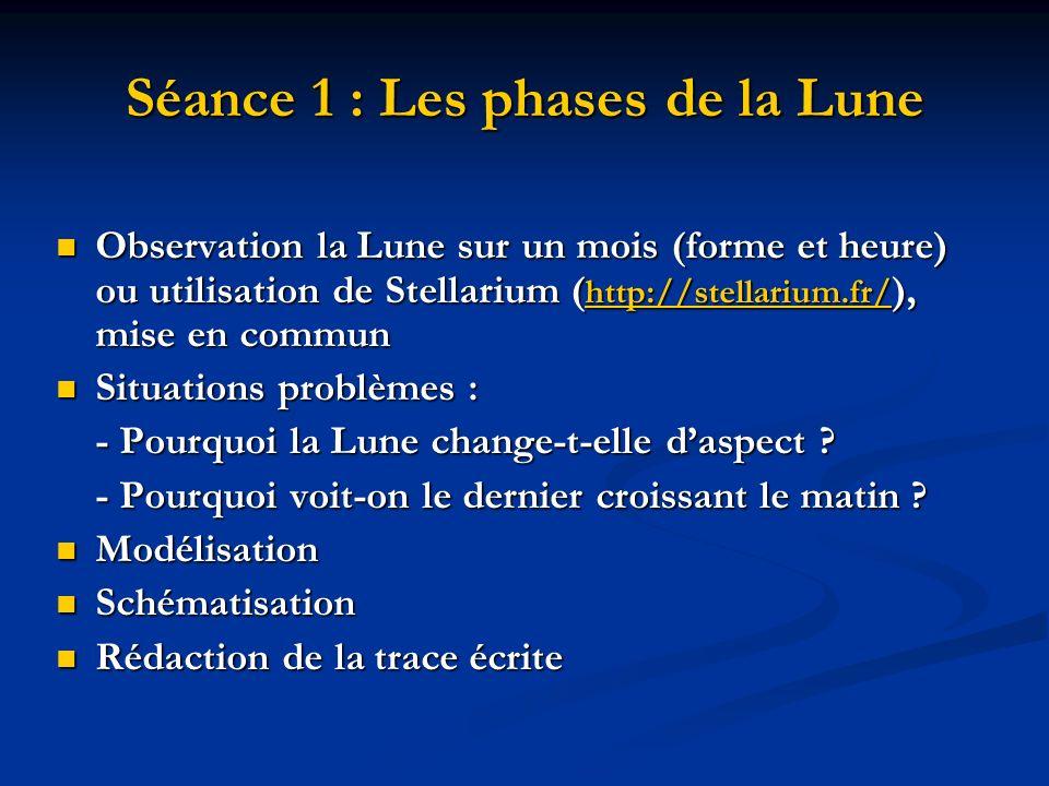 Séance 1 : Les phases de la Lune Observation la Lune sur un mois (forme et heure) ou utilisation de Stellarium ( http://stellarium.fr/ ), mise en comm