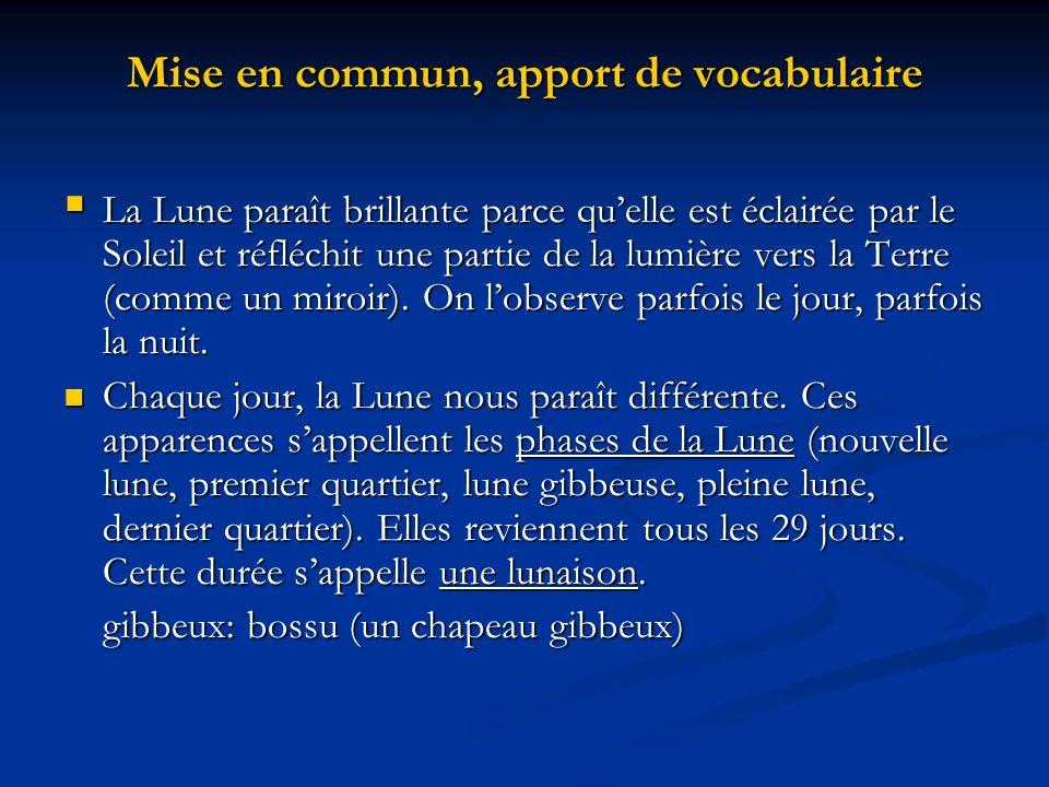 Mise en commun, introduction du vocabulaire