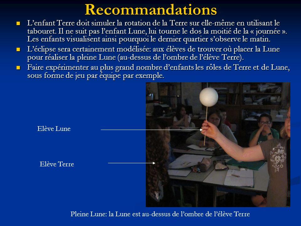 Recommandations Lenfant Terre doit simuler la rotation de la Terre sur elle-même en utilisant le tabouret. Il ne suit pas lenfant Lune, lui tourne le