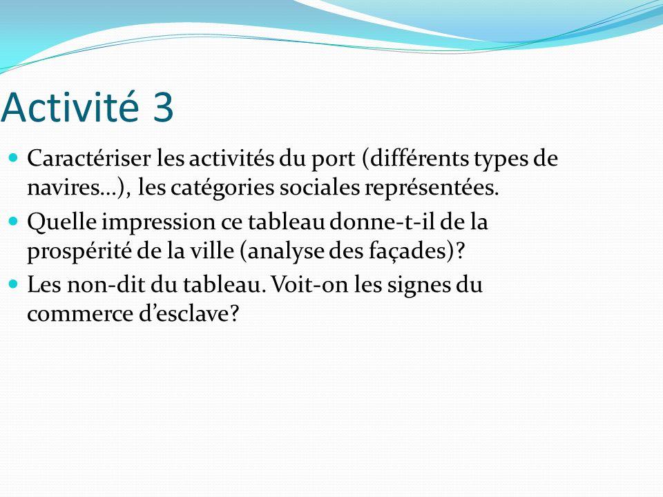 Activité 3 Caractériser les activités du port (différents types de navires…), les catégories sociales représentées. Quelle impression ce tableau donne