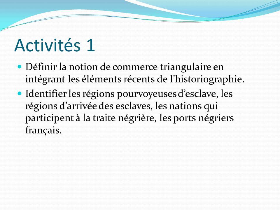 Activités 1 Définir la notion de commerce triangulaire en intégrant les éléments récents de lhistoriographie. Identifier les régions pourvoyeuses desc