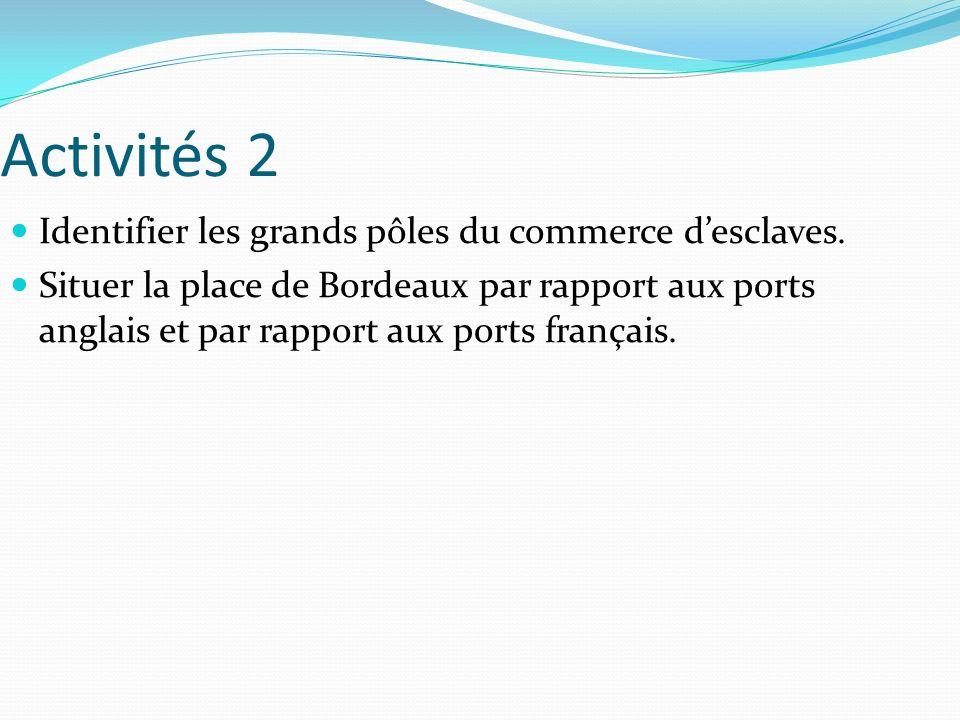 Activités 2 Identifier les grands pôles du commerce desclaves. Situer la place de Bordeaux par rapport aux ports anglais et par rapport aux ports fran
