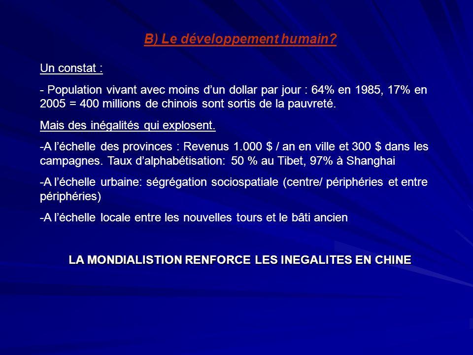 B) Le développement humain? Un constat : - Population vivant avec moins dun dollar par jour : 64% en 1985, 17% en 2005 = 400 millions de chinois sont