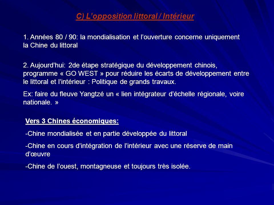 C) Lopposition littoral / Intérieur 1. Années 80 / 90: la mondialisation et louverture concerne uniquement la Chine du littoral 2. Aujourdhui: 2de éta