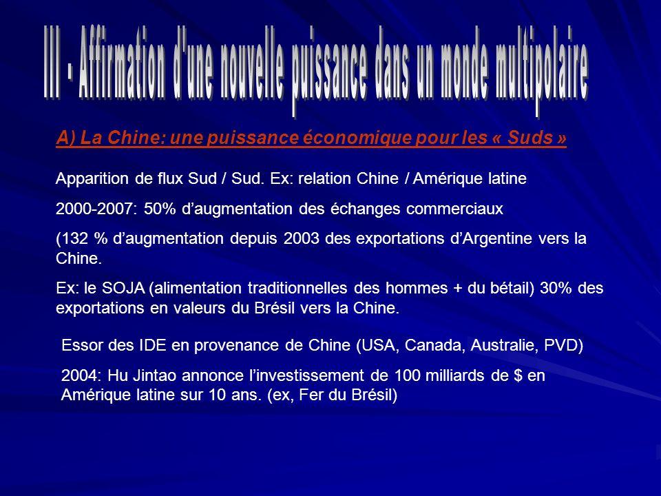 A) La Chine: une puissance économique pour les « Suds » Apparition de flux Sud / Sud. Ex: relation Chine / Amérique latine 2000-2007: 50% daugmentatio