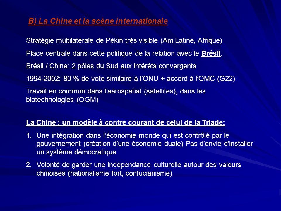 B) La Chine et la scène internationale Stratégie multilatérale de Pékin très visible (Am Latine, Afrique) Place centrale dans cette politique de la re