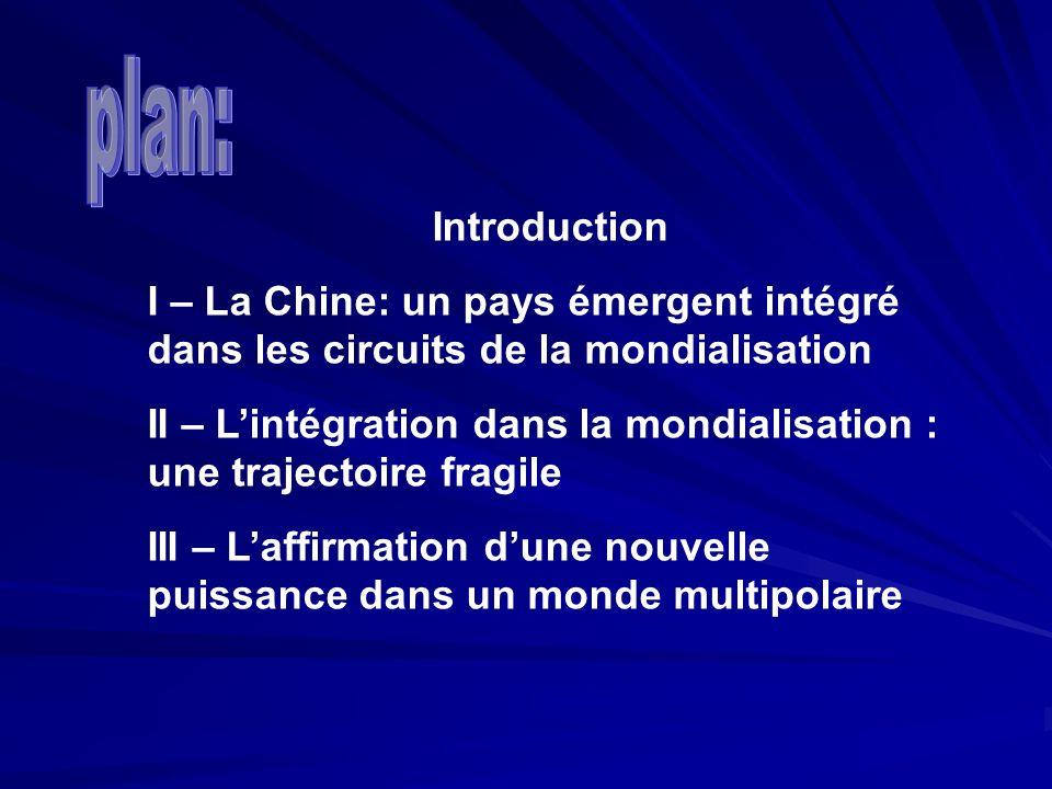 Introduction I – La Chine: un pays émergent intégré dans les circuits de la mondialisation II – Lintégration dans la mondialisation : une trajectoire