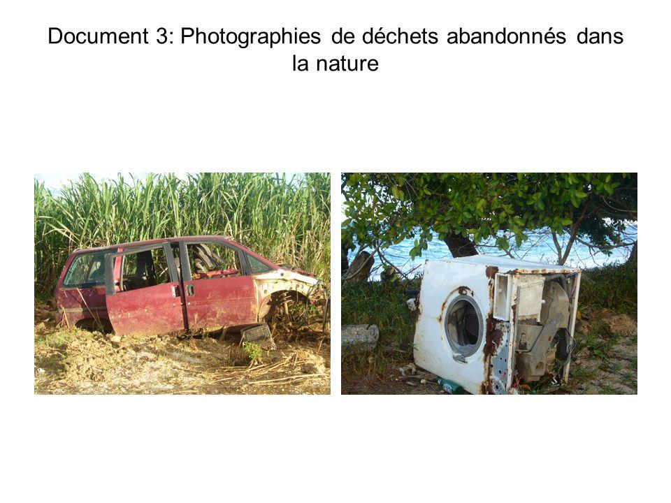 Document 3: Photographies de déchets abandonnés dans la nature