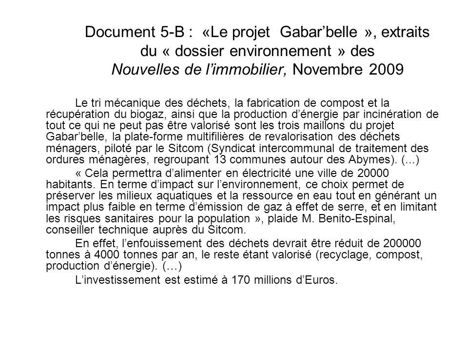 Document 5-B : «Le projet Gabarbelle », extraits du « dossier environnement » des Nouvelles de limmobilier, Novembre 2009 Le tri mécanique des déchets, la fabrication de compost et la récupération du biogaz, ainsi que la production dénergie par incinération de tout ce qui ne peut pas être valorisé sont les trois maillons du projet Gabarbelle, la plate-forme multifilières de revalorisation des déchets ménagers, piloté par le Sitcom (Syndicat intercommunal de traitement des ordures ménagères, regroupant 13 communes autour des Abymes).