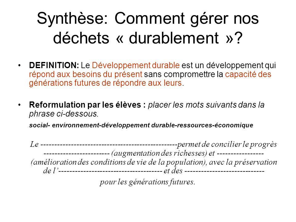 Synthèse: Comment gérer nos déchets « durablement ».