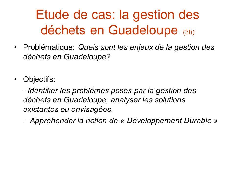 Etude de cas: la gestion des déchets en Guadeloupe (3h) Problématique: Quels sont les enjeux de la gestion des déchets en Guadeloupe.