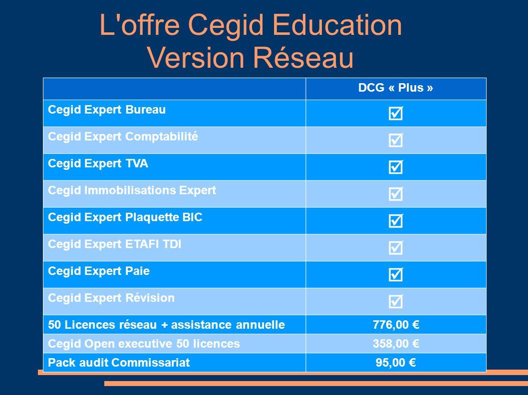 DCG « Plus » Cegid Expert Bureau Cegid Expert Comptabilité Cegid Expert TVA Cegid Immobilisations Expert Cegid Expert Plaquette BIC Cegid Expert ETAFI