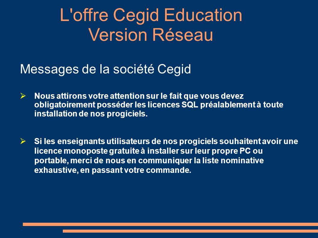 L offre Cegid Education Personne à contacter : Martine NOBLET Attachée Commerciale Cegid Education mnoblet@cegid.fr Bureau : 33(0)4.26.29.59.03 Fax : 33(0)820.90.18.22 www.cegid.fr