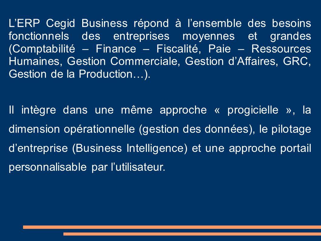 LERP Cegid Business répond à lensemble des besoins fonctionnels des entreprises moyennes et grandes (Comptabilité – Finance – Fiscalité, Paie – Ressou