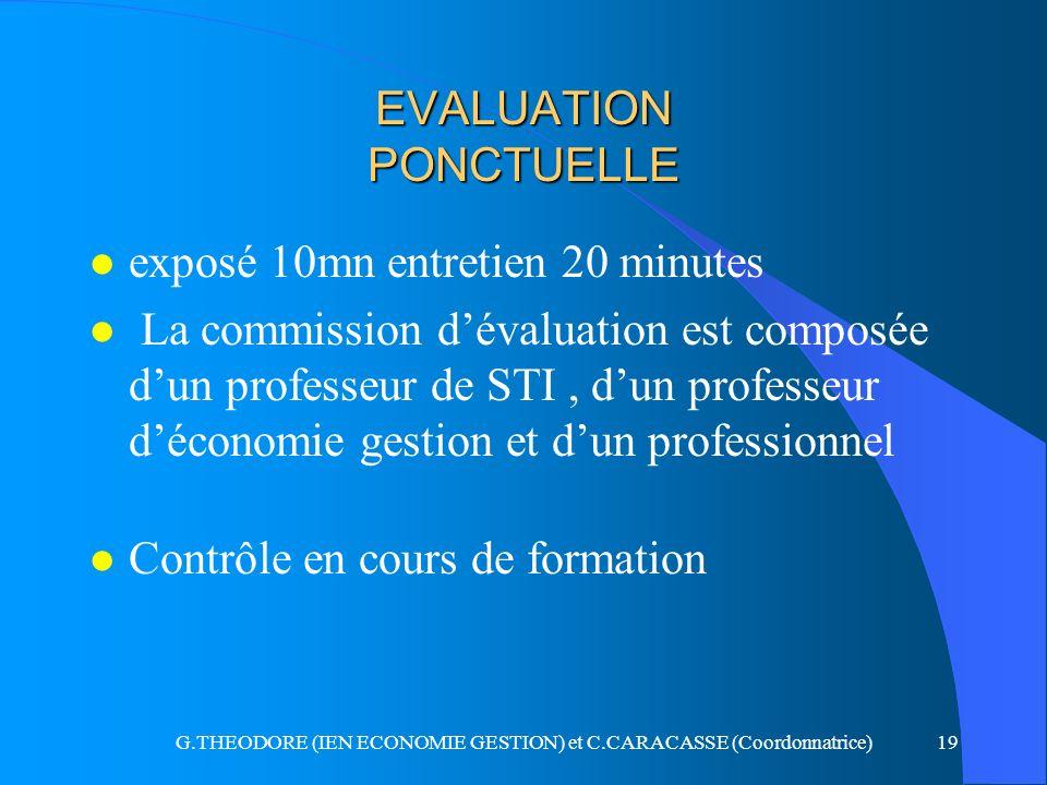 G.THEODORE (IEN ECONOMIE GESTION) et C.CARACASSE (Coordonnatrice)19 EVALUATION PONCTUELLE l exposé 10mn entretien 20 minutes l La commission dévaluati