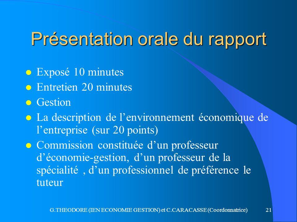 G.THEODORE (IEN ECONOMIE GESTION) et C.CARACASSE (Coordonnatrice)21 Présentation orale du rapport l Exposé 10 minutes l Entretien 20 minutes l Gestion