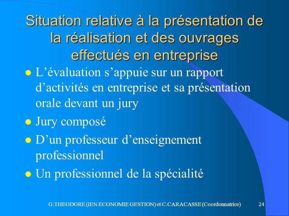 G.THEODORE (IEN ECONOMIE GESTION) et C.CARACASSE (Coordonnatrice)24 Situation relative à la présentation de la réalisation et des ouvrages effectués e