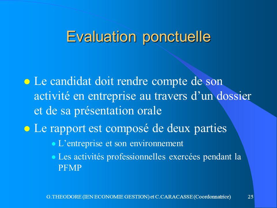 G.THEODORE (IEN ECONOMIE GESTION) et C.CARACASSE (Coordonnatrice)25 Evaluation ponctuelle l Le candidat doit rendre compte de son activité en entrepri