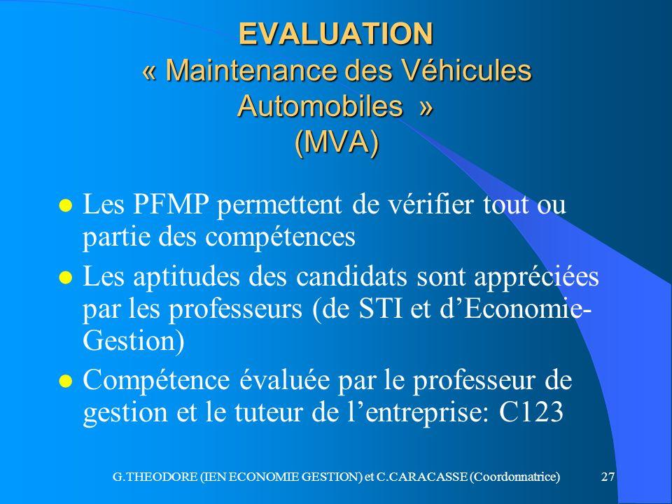 G.THEODORE (IEN ECONOMIE GESTION) et C.CARACASSE (Coordonnatrice)27 EVALUATION « Maintenance des Véhicules Automobiles » (MVA) l Les PFMP permettent d