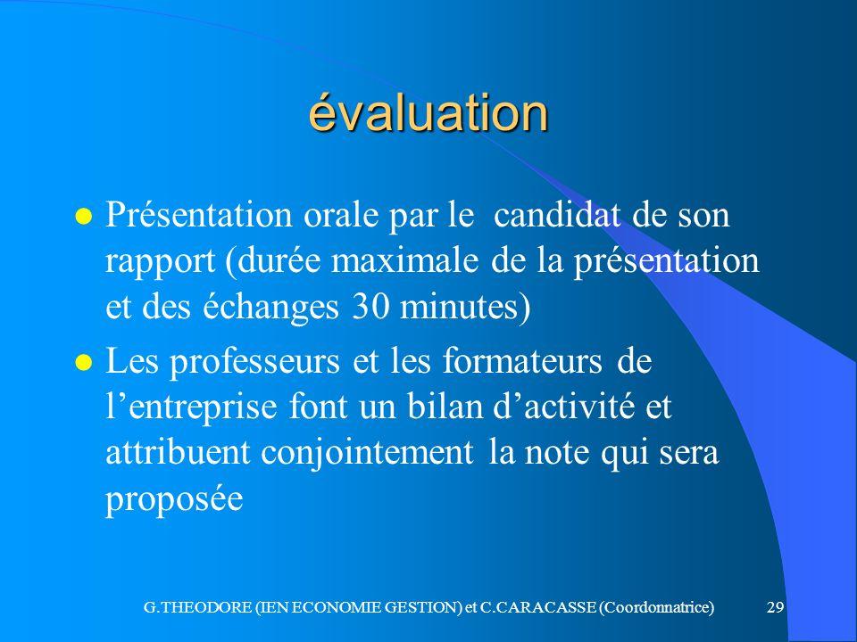 G.THEODORE (IEN ECONOMIE GESTION) et C.CARACASSE (Coordonnatrice)29 évaluation l Présentation orale par le candidat de son rapport (durée maximale de