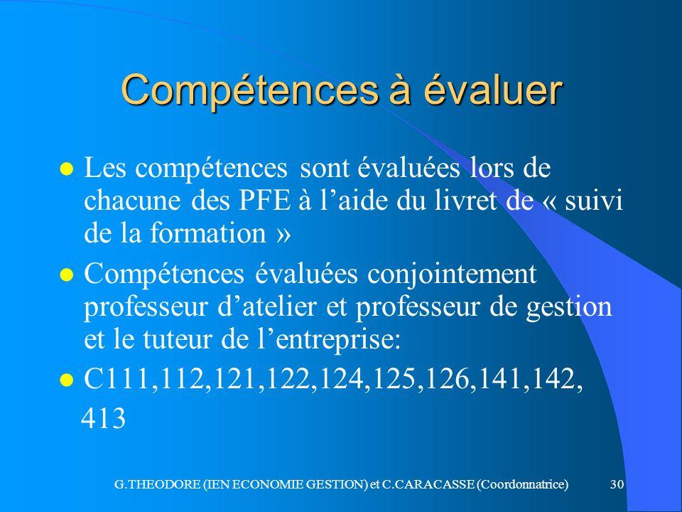 G.THEODORE (IEN ECONOMIE GESTION) et C.CARACASSE (Coordonnatrice)30 Compétences à évaluer l Les compétences sont évaluées lors de chacune des PFE à la