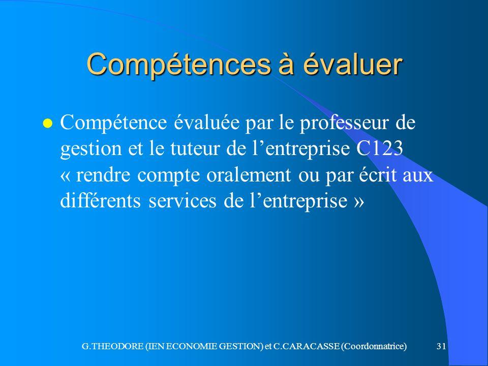 G.THEODORE (IEN ECONOMIE GESTION) et C.CARACASSE (Coordonnatrice)31 Compétences à évaluer l Compétence évaluée par le professeur de gestion et le tute