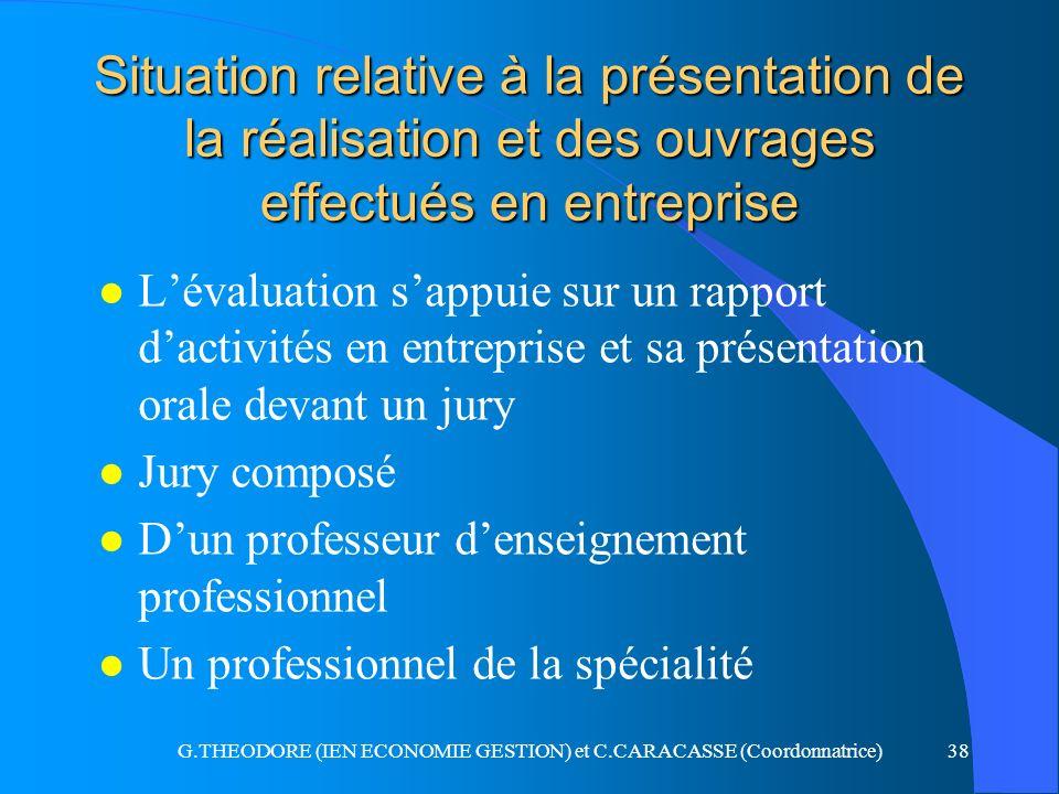 G.THEODORE (IEN ECONOMIE GESTION) et C.CARACASSE (Coordonnatrice)38 Situation relative à la présentation de la réalisation et des ouvrages effectués e
