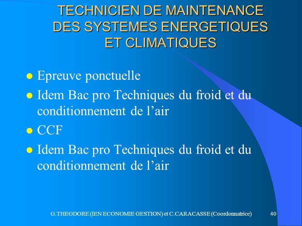 G.THEODORE (IEN ECONOMIE GESTION) et C.CARACASSE (Coordonnatrice)40 TECHNICIEN DE MAINTENANCE DES SYSTEMES ENERGETIQUES ET CLIMATIQUES l Epreuve ponct